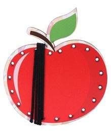 Omocha Wooden  Lacing Toy Apple Shaped - Red