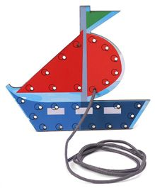 Omocha Lacing Toy Sailboat Shaped - Multicolor