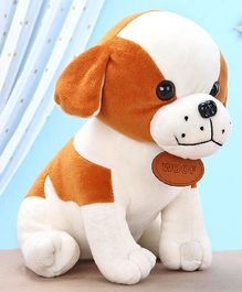 Kids Kaart Dog Soft Toy White And Brown - Height 20.5 cm