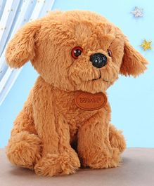 Kids Kaart Poly Dog Soft Toy Brown - Height 21.5 cm