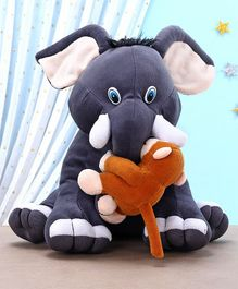 Kids Kaart Elephant With Monkey Soft Toy Blue And Brown  - Height 26 cm