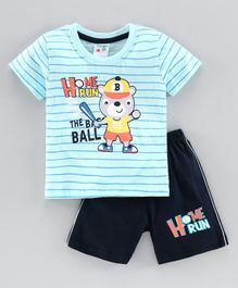 Tango Half Sleeves T-Shirt & Shorts Set Bear Print - Blue