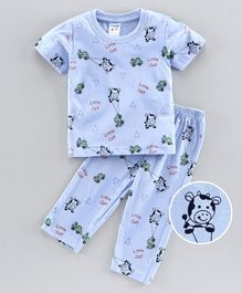 Tango Half Sleeves Night Suit Cow Print - Blue