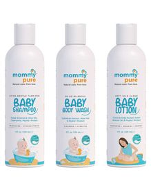 MommyPure Combo of Baby Shampoo Baby Body Wash & Lotion - 120 ml Each