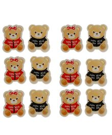 Passion Petals Teddy Bear Shaped Erasers Pack of 12 - Multicolor