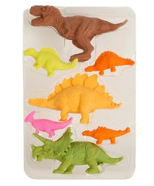 Passion Petals Dino  Shaped Erasers Pack of 7 - Multicolor