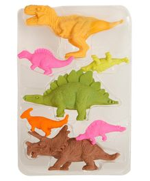 Passion Petals Dinosaur Shaped Erasers Pack of 7 - Multicolor