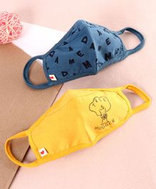Ed-a-Mamma Pack Of 2 Alphabets Print Reusable Face Mask - Blue & Yellow