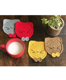 This and That By Vedika Set Of 4 Kitty Design Coasters - Multi Colour