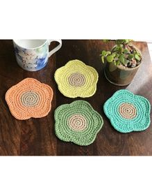 This and That By Vedika Set Of 4 Flower Design Coasters - Multi Colour