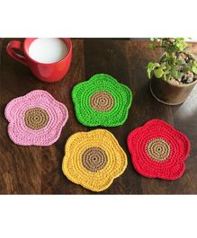 This and That By Vedika Set Of 4 Flowers Design Coasters - Multi Colour