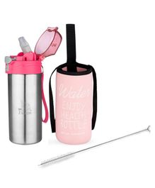 Falcon Push Button Sipper with Insulated Cover & Bottle Brush Pink - 500 ml