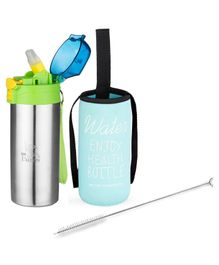 Falcon Push Button Sipper with Insulated Cover & Bottle Brush Blue - 500 ml