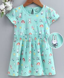 Cucumber Half Sleeves Frock Bunny Print - Blue