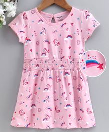 Cucumber Half Sleeves Frock Bunny Print - Pink