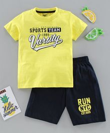 Smarty Half Sleeves Tee & Shorts Set Text Print - Yellow