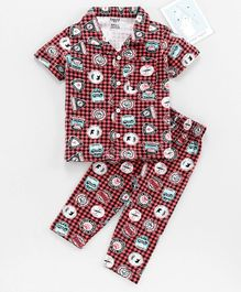 Smarty Half Sleeves Check Night Suit Multiprint - Red