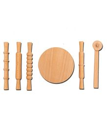 HILIFE Kids Wooden  Rolling Pin & Board Set Light Brown - 6 Pieces
