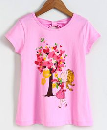 Smarty Half Sleeves T-shirt Girl Print - Pink