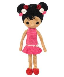 Happy Threads Crochet Amigurumi Doll Pink - Height 20.32 cm
