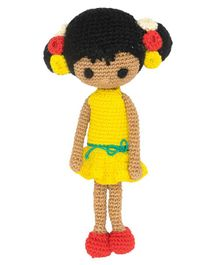 Happy Threads Crochet Amigurumi Doll Yellow - Height 20.32 cm