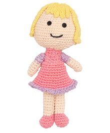 Happy Threads Crochet Amigurumi Doll Pink - Height 13.97 cm