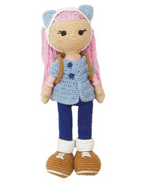 Happy Threads Crochet Amigurumi Cat Ears Doll Blue - Height 25.4 cm