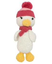 Happy Threads Crochet Duck Soft Toy White - Height 15 cm