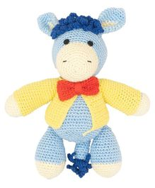 Happy Threads Crochet Dapper Horse Soft Toy Blue - Height 18.75 cm