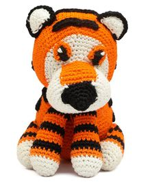 Happy Threads Crochet Tiger Soft Toy Orange - Height 20 cm