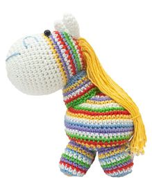Happy Threads Crochet Rainbow Pony Soft Toy  Multicolor - Height 12.5 cm