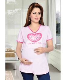 Mama & Bebe Half Sleeves Maternity Top - Light Pink