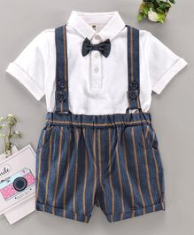 ToffyHouse Half Sleeves Shirt & Shorts with Suspenders - Blue
