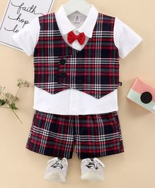 Little Folks Half Sleeves Party Wear Checks Tee & Shorts - Maroon Navy