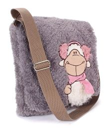 Abracadabra Plush Sling Bag Animal Embroidery Grey - 11 Inches