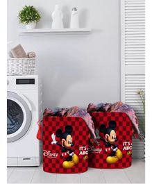 Fun Homes Laundry Bag Mickey Mouse Print Set Of 2 - Maroon