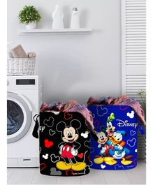 Fun Homes Laundry Bag Mickey Mouse And Friends Print Set Of 2- Black Blue