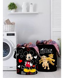 Fun Homes Laundry Bag Mickey Mouse And Friends Print Set Of 2 - Black