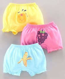 Simply Bloomers Fruits Print Pack of 3 - Yellow Blue Pink