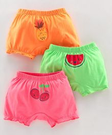 Simply Bloomers Fruits Print Pack of 3 - Orange Green Pink