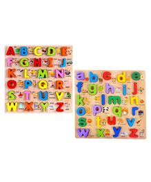 FunBlast Wooden Small & Capital Letters 3D Board Puzzle - Multicolor