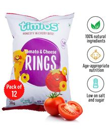Timios Tomato Cheese Snacks Rings Pack of 12 - 30 gm