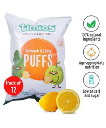 Timios Spinach Lime Snacks Puffs Pack of 12 - 30 gm