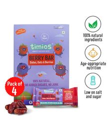 Timios Energy Bars Berry Natural Healthy Pack of 4 - 30 gm each