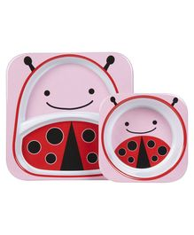 Skip Hop Zoo Melamine Plate & Bowl Set Ladybug Print - Pink Red