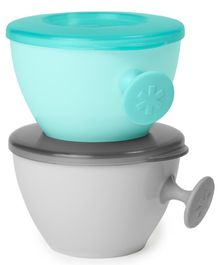 Skip Hop Easy-Grab Bowls Pack Of 2 Grey & Teal - 240 ml Each