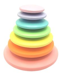 Wufiy Wooden Pastel Rainbow Pebble Stacking Toy Multicolor - 7 Pieces
