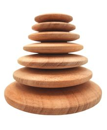 Wufiy Wooden Natural Raw Finish Pebble Stacking Toy Brwon - 7 Pieces