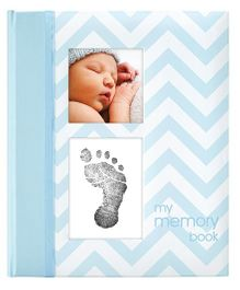 Pearhead Chevron Baby Book With Clean Touch Ink Pad Blue - English