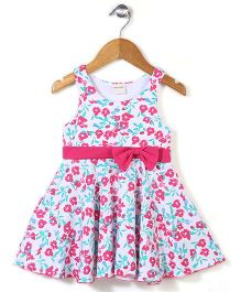 Miss Pretty Floral Dress With Bow - Pink